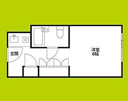 ステュディオ新大阪 4階ワンルームの間取り