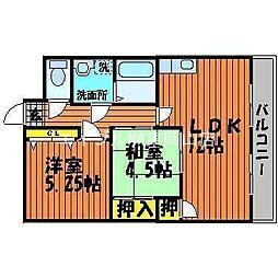岡山県岡山市東区中尾丁目なしの賃貸マンションの間取り