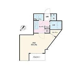 JR中央線 国分寺駅 徒歩2分の賃貸マンション 9階1Kの間取り