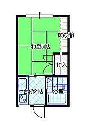 JR山形新幹線 山形駅 バス25分 大学病院前下車 徒歩3分の賃貸アパート 2階1Kの間取り