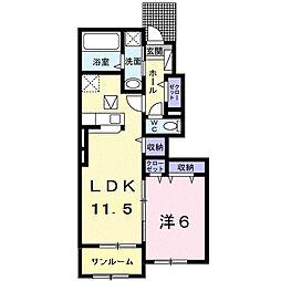 ラ・ヴィータ 1階1LDKの間取り