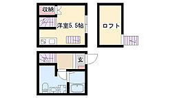 愛知県名古屋市南区豊田の賃貸アパートの間取り