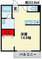 JR日豊本線 南小倉駅 徒歩5分の賃貸マンション 2階ワンルームの間取り
