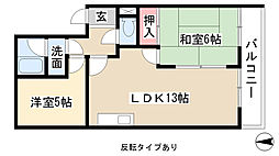 愛知県名古屋市守山区大谷町の賃貸マンションの間取り