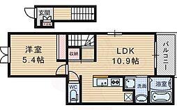 北大阪急行電鉄 千里中央駅 徒歩12分の賃貸アパート 2階1LDKの間取り