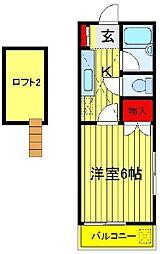 千葉県習志野市実籾1丁目の賃貸アパートの間取り