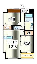 ヴァンクール[5階]の間取り