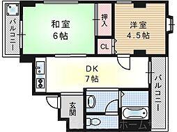 ループハイツ篠田[5階]の間取り