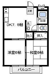 プリオール浅田 3階2DKの間取り
