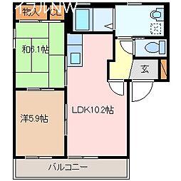 三重県松阪市大黒田町の賃貸アパートの間取り