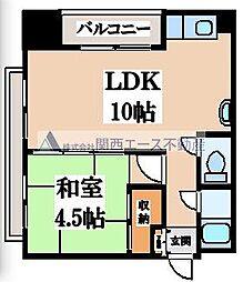 大阪府大阪市天王寺区勝山2丁目の賃貸マンションの間取り
