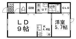 ソレイユ弥生I 2階1LDKの間取り