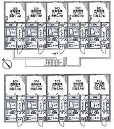玉川学園7丁目アパート 1階1Kの間取り