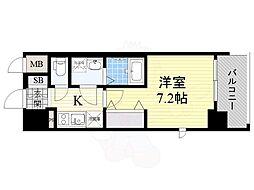 おおさか東線 JR淡路駅 徒歩2分の賃貸マンション 8階1Kの間取り