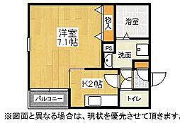 福岡県北九州市八幡東区春の町3丁目の賃貸アパートの間取り