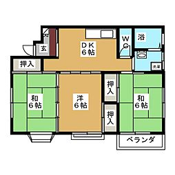 コーポ戸枝II[2階]の間取り