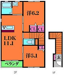 フレンドメゾン緑町 2階2LDKの間取り