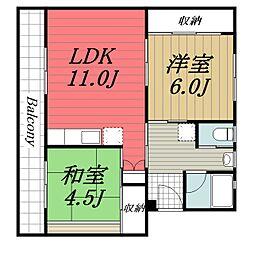 JR成田線 成田駅 バス9分 吾妻神社下車 徒歩3分の賃貸マンション 3階2LDKの間取り