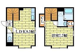 [テラスハウス] 北海道北広島市大曲南ヶ丘2丁目 の賃貸【/】の間取り
