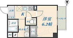 アームスコート若江岩田 1階1Kの間取り