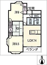 レヂデンス土屋[1階]の間取り