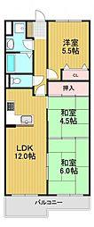 コスモ萩原天神 2階3LDKの間取り
