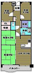 美加の台南海アーバンコンフォート弐番館[2階]の間取り