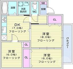 JR東北本線 南仙台駅 徒歩24分の賃貸アパート 2階3DKの間取り