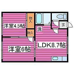 北海道札幌市北区太平七条5丁目の賃貸アパートの間取り