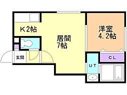 マハロ 1階1DKの間取り