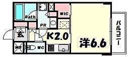 プラネソシエ神戸元町 6階1Kの間取り