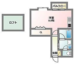 大阪府門真市上島町の賃貸アパートの間取り
