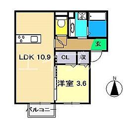 リヴェール 2階1LDKの間取り