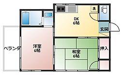 吉田荘[201号室]の間取り
