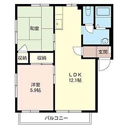 ハウス パインカウンティー B[1階]の間取り