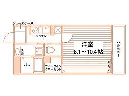 フィクスシュテルン (仮称)大塚・帝京大学駅学生マンション 2階1Kの間取り