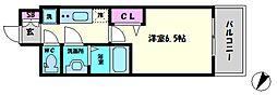 プレサンスOSAKA DOME CITYビーツ 7階1Kの間取り