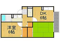 兵庫県西宮市神垣町の賃貸アパートの間取り