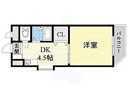 Osaka Metro今里筋線 井高野駅 徒歩3分の賃貸マンション 3階1DKの間取り