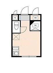 京王線 笹塚駅 徒歩11分の賃貸アパート 1階ワンルームの間取り