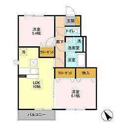 Living Court 2階2LDKの間取り