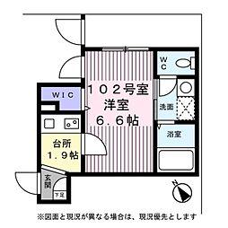 東京メトロ銀座線 表参道駅 徒歩8分の賃貸マンション 1階1Kの間取り