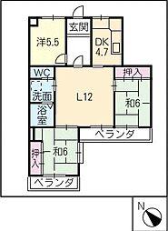 シャトレー西尾302号室[3階]の間取り