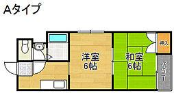 南海高野線 住吉東駅 徒歩9分の賃貸マンション 4階2DKの間取り