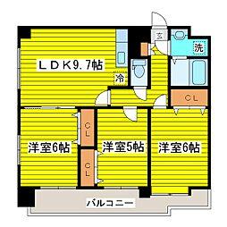 北海道札幌市東区北三十三条東15丁目の賃貸マンションの間取り