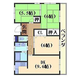 サンレスポアール山崎[3階]の間取り