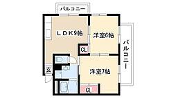愛知県名古屋市天白区保呂町の賃貸アパートの間取り