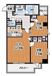 プライムアーバン新宿夏目坂タワーレジデンス 8階2LDKの間取り