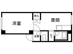 メゾンド栄町 2階1LDKの間取り