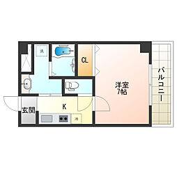 阪堺電気軌道上町線 阿倍野駅 徒歩2分の賃貸マンション 3階1Kの間取り